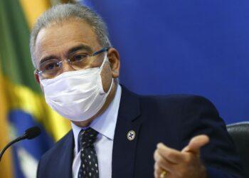 O ministro da Saúde, Marcelo Queiroga, durante entrevista coletiva  sobre a metodologia de distribuição de doses da vacina Covid-19.